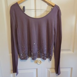 Ludi Long Sleeve Low Back Sequin Top Large